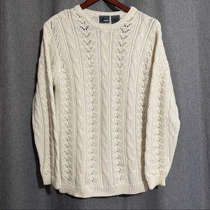 Vintage Liz Wear White Metallic Cable Knit Sweater